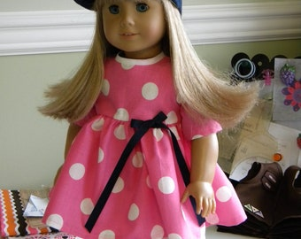 18 inch Doll Clothes  fits American Girl  Pink & White Polka Dot Dress