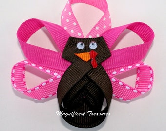 Pink Turkey Ribbon Sculpture Hair Clip or Pin