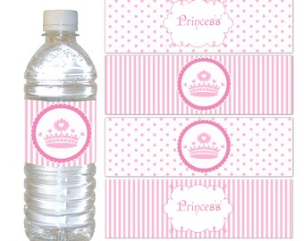 Princess Bottle Labels Party Favor Wrappers Princess Birthday Party Baby  Girl Shower Printable File Pink Polka