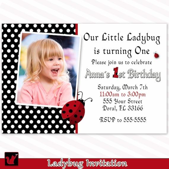 Ladybug Birthday Invitation Card Custom Girl 1st Birthday