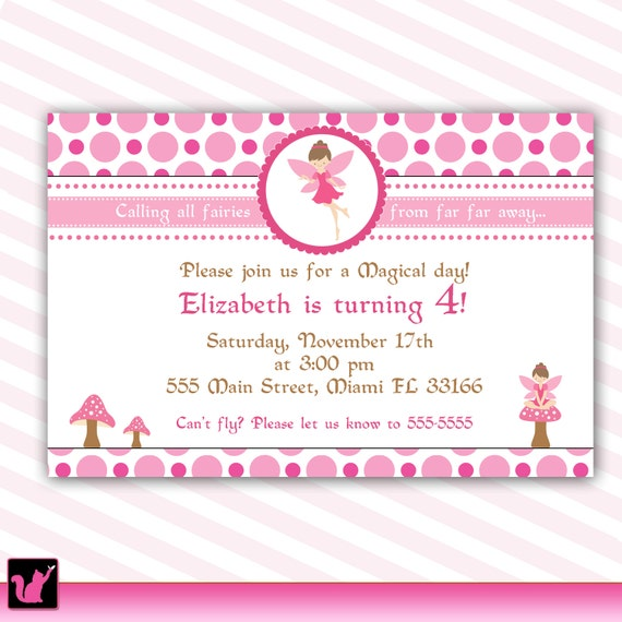 Pixie Fairy Birthday Invitation Card for Girl Printable – Rom Invitation Card