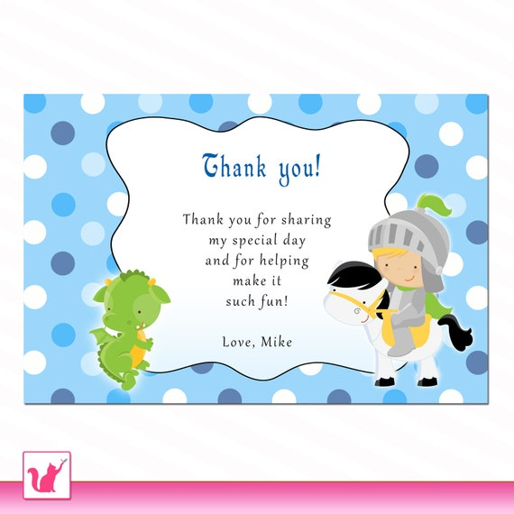 wording knight dragon polka dots thank you card birthday party or baby