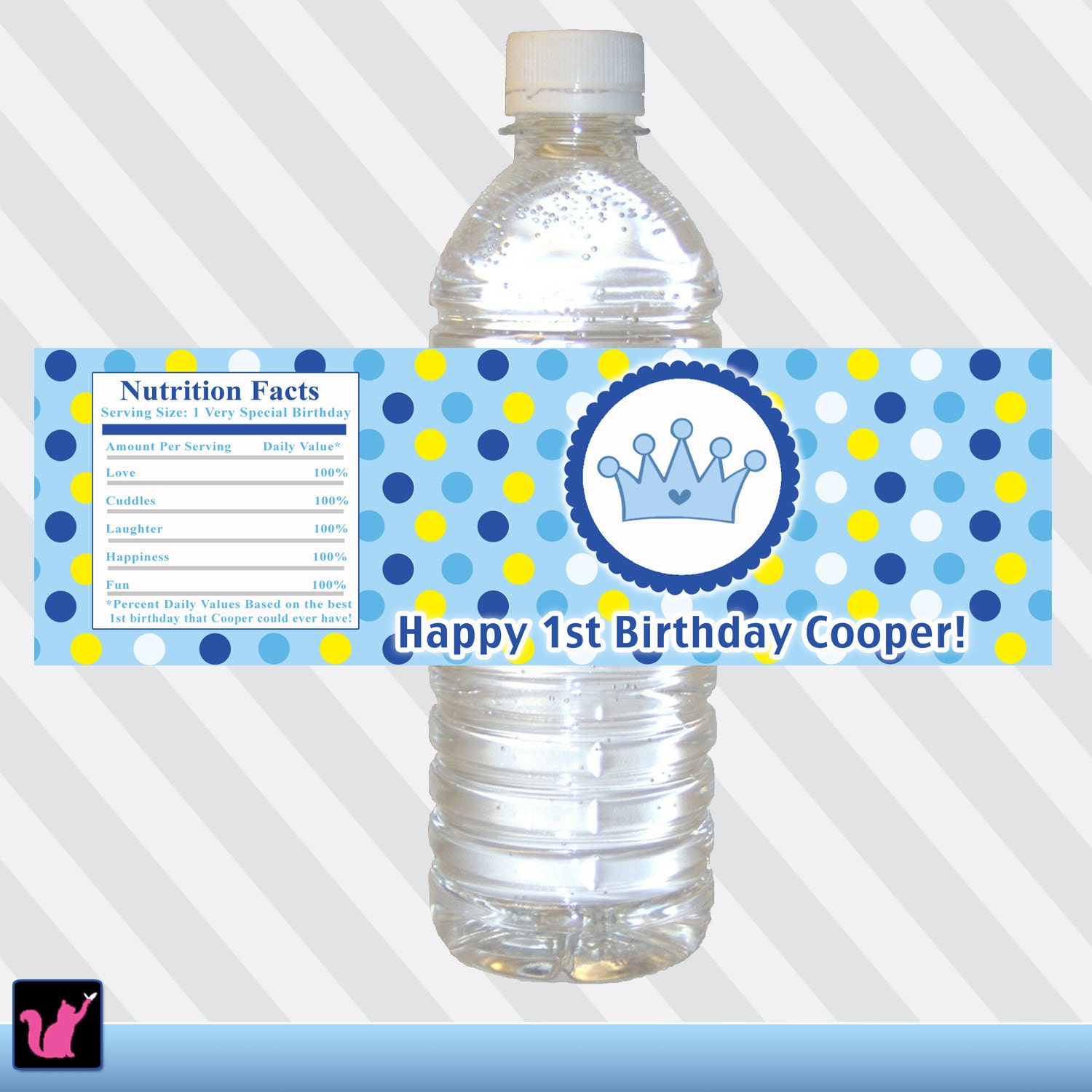 printable personalized water bottle labels blue by pinkthecat