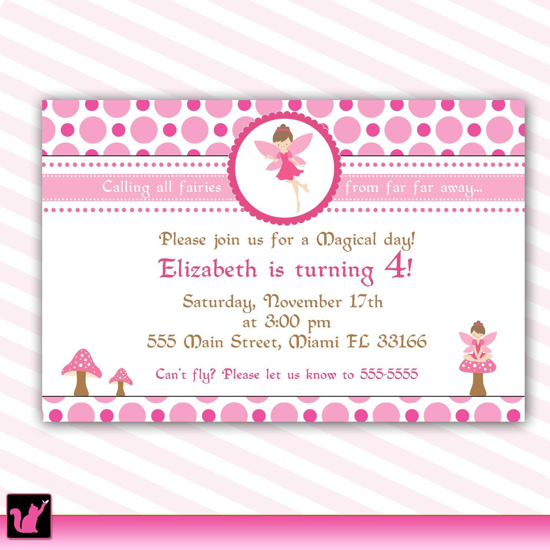 Pixie Fairy Birthday Invitation Card for Girl Printable – Fairy Birthday Party Invitation Wording