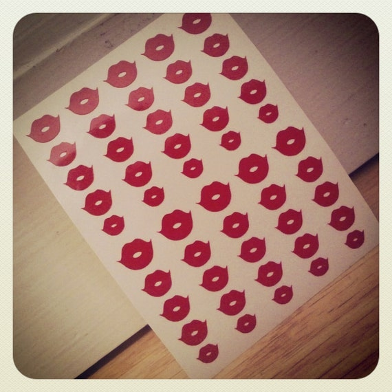 FLASH SALE  Half off Red ONLY Lip Nail Decals- Set of 100