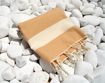 High Quality Hand - Woven Turkish Cotton Bath,Beach,Pool,Spa,Yoga,TravelTowel or Sarong-Natural Cream and Saffron color