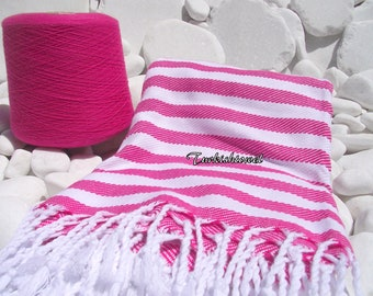 Turkishtowel-Very Soft-High Quality,Hand Woven,Cotton Bath,Beach Towel or Sarong-Fuchsia and White Stripes
