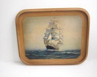 Wooden Ship Tray, Robinhood Ware, Shabby Cool