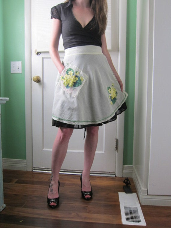 Sweet Half Apron, Yellow Floral Appliques and Green Ric Rac