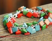 Squared Off - Hand Dyed Multi Colored Square Vintage Buttons Charm Cha Cha Bracelet