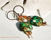Tesserae - Mosaic Turquoise Stone Beads Beaded Copper Earrings