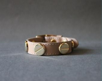 French Stud Leather Bracelet-Medium Size (NUDE)
