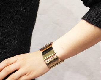 Gold Band Leather Bracelet(Dark Brown)
