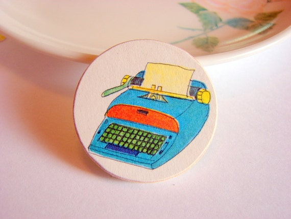 Blue Typewriter Pin - Medium Paper and Wood Decoupage Brooch - Vintage Retro Secretary Writer - One of a Kind