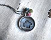 Handmade Sterling Silver Nurse Cross Charm Necklace with Watermelon Tourmaline Trio. Custom. Personalized Jewelry