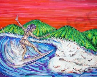 Costa Rica Surfer Girl Original Painting Surf Art 18x24 giclee print on canvas