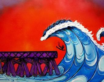Surf Art 18x24, Shooting the Pier, Giclee Canvas Print