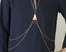 gold triangle body chain