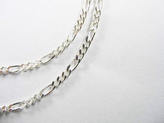 30 inches of 925 Sterling Silver Figaro Chain 1.7 mm. :th1050