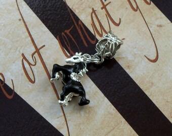 Black Enamel Horse Charm Bead or Pendant, European Style