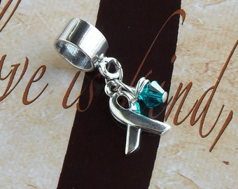 Sterling Silver Ovarian Cancer, Anti-Bullying, Cervical Cancer  Awareness Charm Bead, European Style