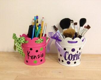 Personalized pencil cup: scalloped edge metal holder, desk organizer, makeup brush holder, name or monogram, polka dots, ribbon