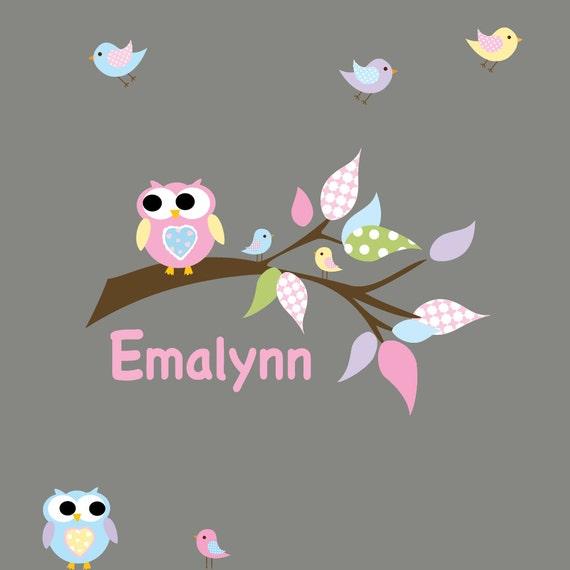 Nursery Branch Wall Decal Vinyl Sticker with Owls Birds