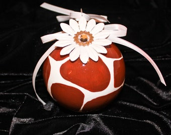 Hand Painted Ornament, Giraffe Print with Flower