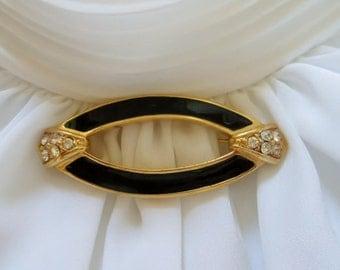 Elegant Black Enamel Rhinestone Oval Brooch Pin -- Very Good Condition