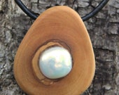 Greek Olive Wood pendant inlaid with freshwater pearl
