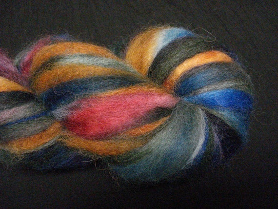 Alpaca Roving custom dyed in blue, gold, green and magenta