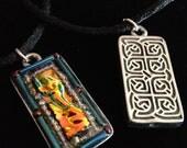 Amber flame dichroic celtic pendant