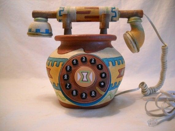 Vintage Southwestern Push Button Phone