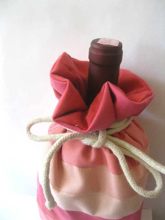 Wine Gift Bag - Pink Rainbow Themed Wine tote with Cotton Rope - Fully Lined and Reusable - Peach Pink and Hot Pink Stripes Eco Friendly