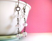 EARRINGS Clear Crystal Beads and Antiqued Copper Wire Wrapped Dangle Earrings