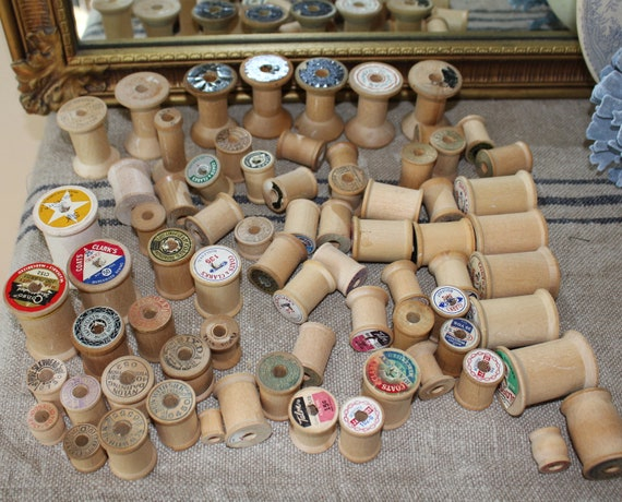 Vintage Wooden Thread Spools -  Lot of 72 - Unusual sizes and shapes