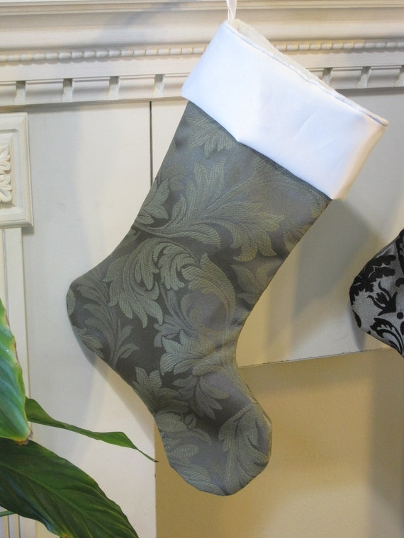 """Christmas stocking / green and white / 17"""" fully lined / traditional decor / brocade- jacquard/ unisex gifts / simple decor /holiday decor"""