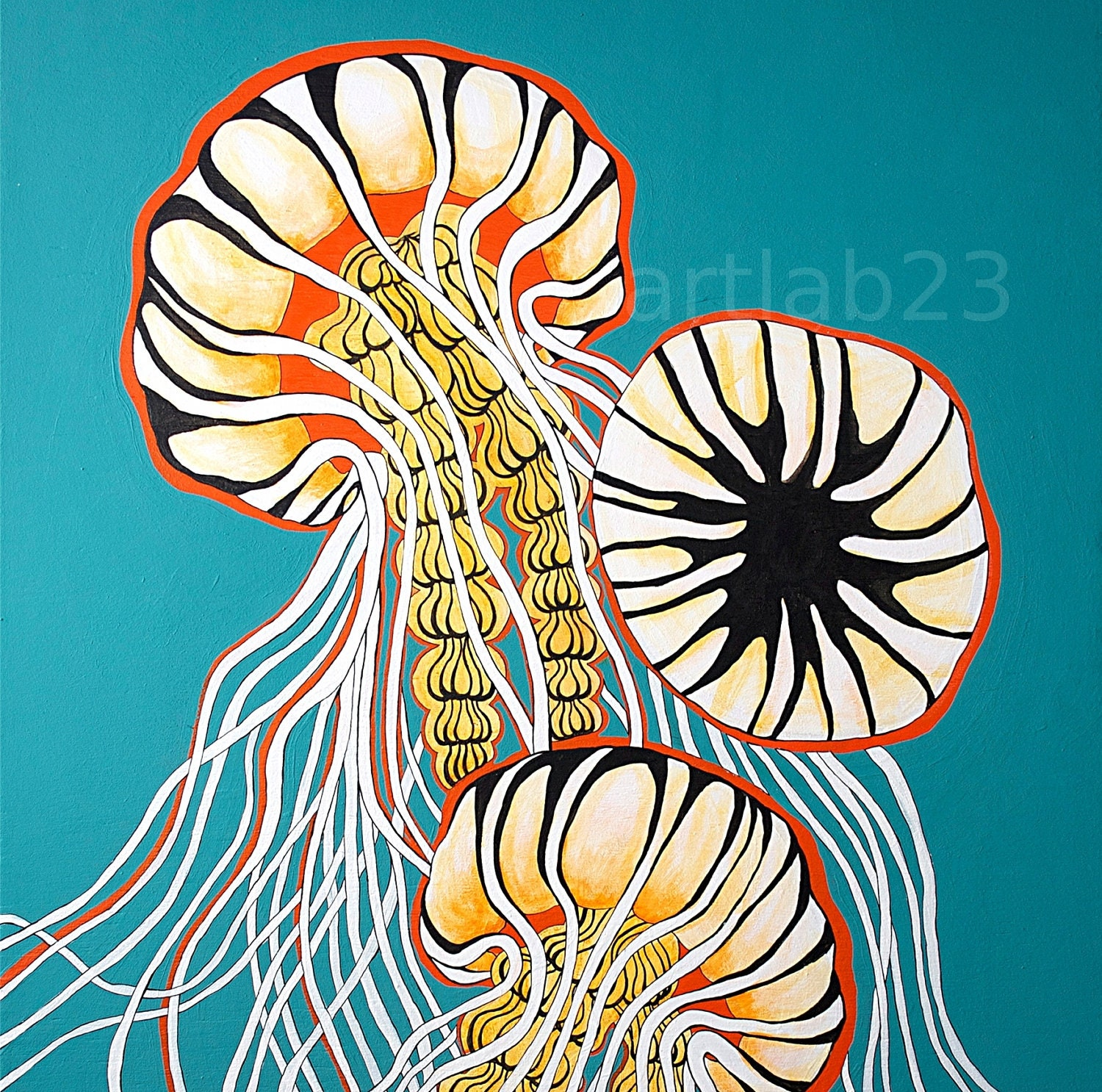 Jellyfish Art Print Ocean Sea Creature Painting Nautical