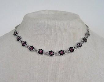 Vintage 1974 Signed Avon Rosegay Antiqued Silver Tone Pink Rhinestone Flower Link Convertible Necklace Bracelet in Original Box NIB