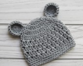 Crochet Beanie Hat with Ears- Teddy Bear Hat-Crocheted Hat with Bear Ears- Photo Prop-