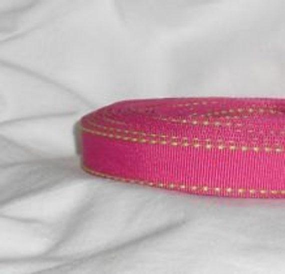 "Destash Fuchsia Pink / Apple Green Ribbon ...5/8"" X 10 yards"