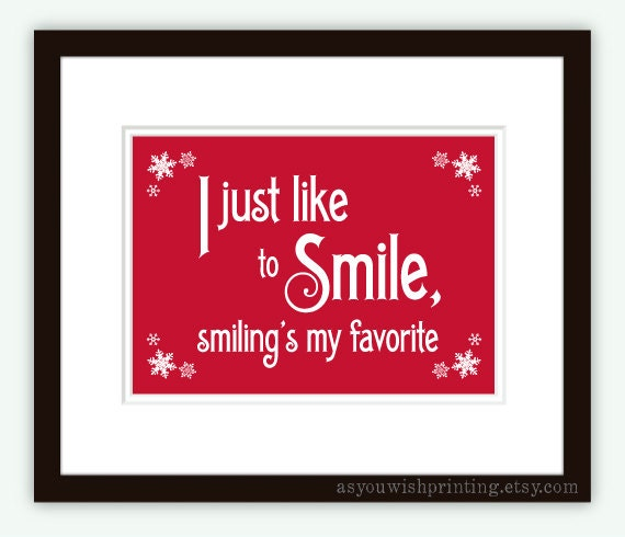 Elf Quotes Smiling: Smiling's My Favorite 5x7 Christmas Print By AsYouWishPrinting