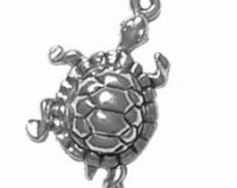 Sterling Silver Turtle Tortoise Charm Pendant