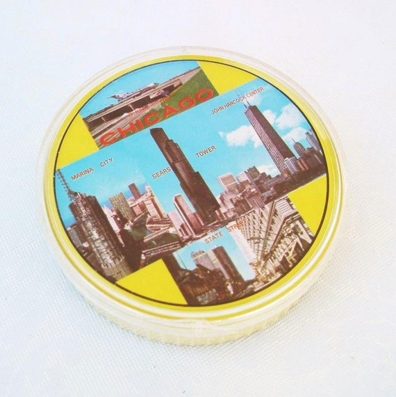 Round Playing Cards  Vintage Playing Cards   Chicago Playing Cards  Chicago Tourist Sites  Souvenir Round Cards