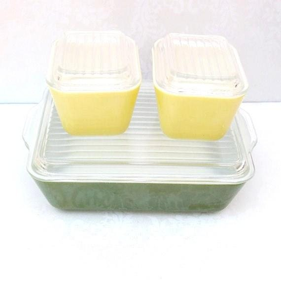 Mid Century Pyrex Bakeware   Pyrex Refrigerator Dishes  Rustic Farmhouse Green Lemon Lime Ovenware