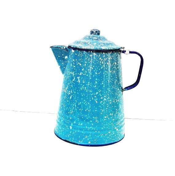 Coffee Pot, Vintage Enamelware,  Graniteware Pot, French Blue - Splatterware - Blue and White