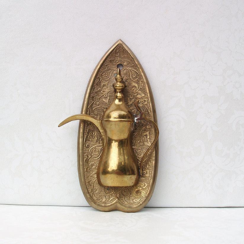 Vintage door knocker brass door knocker teapot door knocker - Peephole door knocker ...