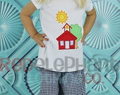 Blue School House Shirt Pants Outfit, Custom Boutique - RedElephantClothing
