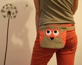 Owl fanny pack, belt bag, tan and orange with small flowers, spring fashion - made to order