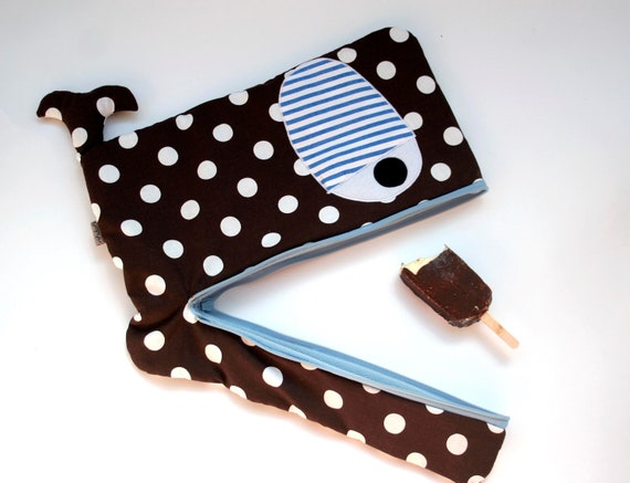 Nautical Circus Whale laptop sleeve case in brown white polka dots with blue white stripes 15  inch, padded, -ready to ship